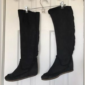 Lanvin Wedge Boots SZ 37.5 Knee High Shearling